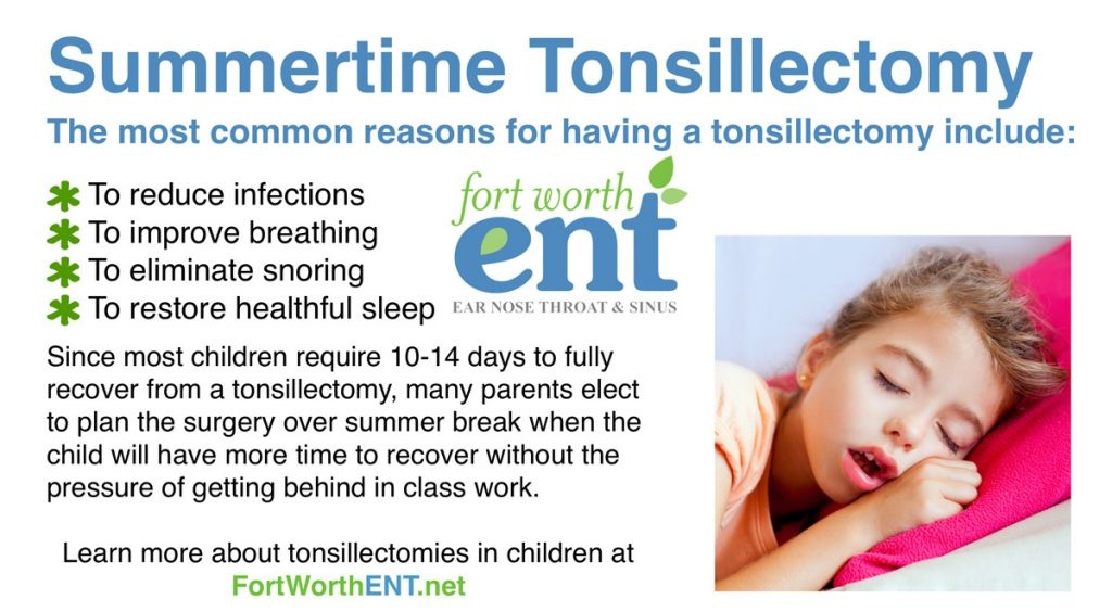 Fort Worth ENT summer Tonsillectomy